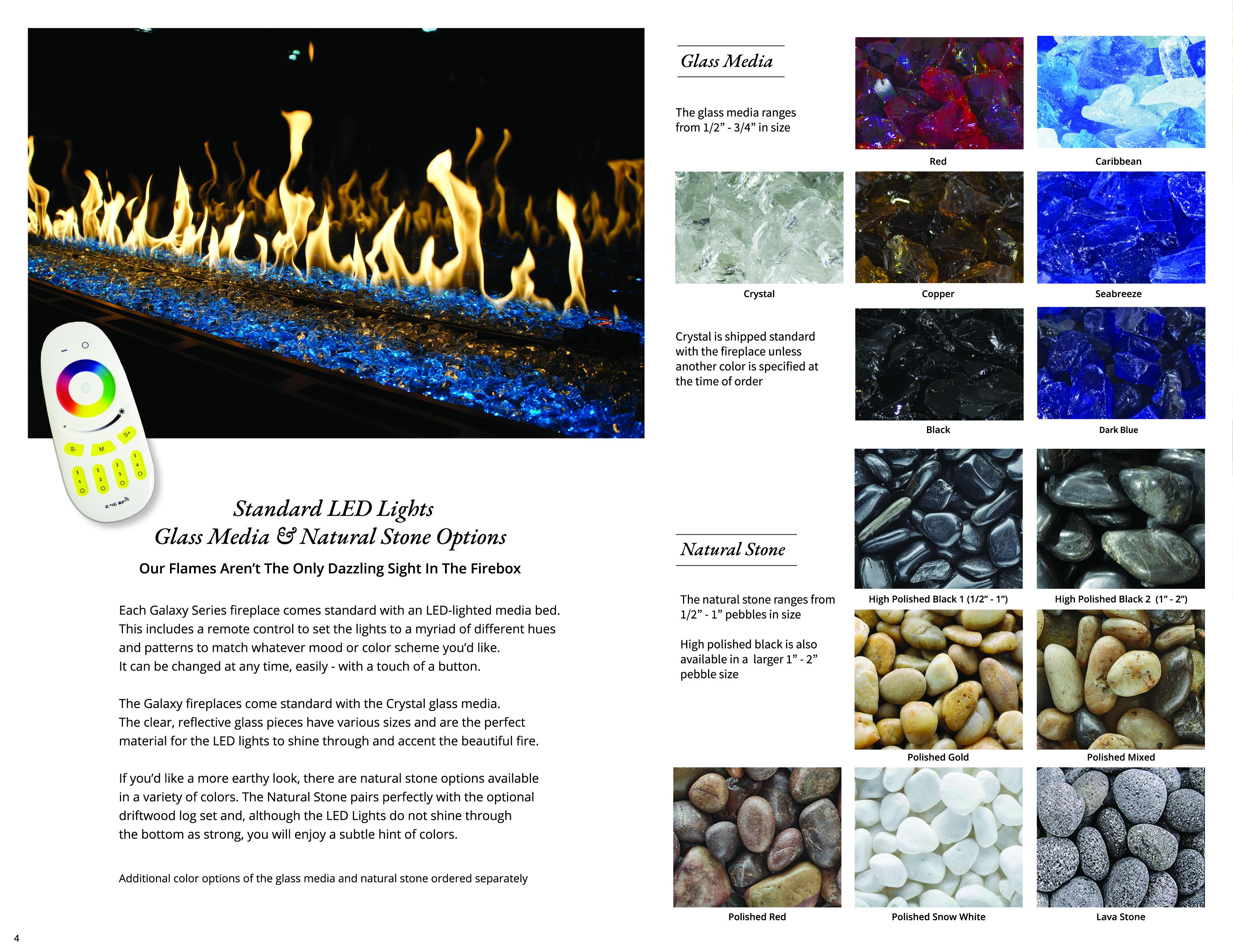 LED Lights, Glass Media and Natural Stone Choices